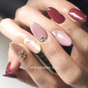ボルドーネイル.秋ネイル.nails.Bordeaux